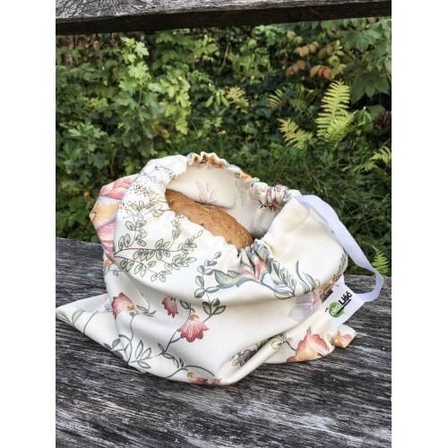 Woreczek bawełniany KWIATY BEŻ ze ściągaczem na pieczywo, zakupy na wagę - z materiałów z odzysku, REUSE - 30cmx35cm
