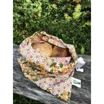 Woreczek bawełniany KOLOR ze ściągaczem na pieczywo, zakupy na wagę - z materiałów z odzysku, REUSE - 30cmx35cm