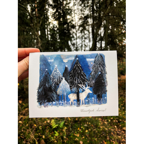 Kartka otwierana - Zimowa noc Ducha - Karolina Maluki Piaścik
